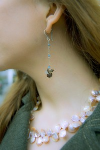 Pink AAA Keishi Pearl Necklace with Dinosaur Bone, Owyhee Opal, Spotted Chalcedony & Moonstone Earrings